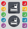 lunch box icon sign A set of 12 colored buttons vector image vector image