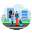 male tourists standing with suitcases and luggage vector image