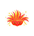 masquerade mask with red and yellow feathers vector image