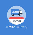 online shopping courier delivery vector image vector image