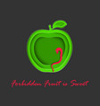 paper cut out apple with cunning snake vector image vector image
