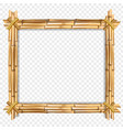 rectangle brown bamboo border frame with copy vector image vector image