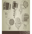 Retro microphone set vector image vector image