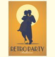 Retro party poster silhouettes of couple wearing