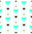 Seamless heart blue stripped pattern vector image vector image