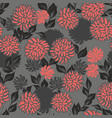 seamless pattern with stylized flowers on a gray vector image vector image