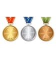 set gold silver and bronze award medals on vector image vector image