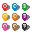 set of nine colorful map pointers with gift box vector image