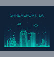 shreveport skyline louisiana usa city line vector image vector image
