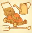 Sketch gardening set in vintage style vector image vector image