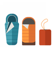 Sleeping Bag Set vector image