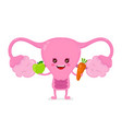 strong healthy happy uterus character vector image vector image
