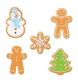 Sweet decorated new year gingerbread cookies icons vector image vector image
