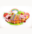 sweet house confectionery and desserts 3d vector image
