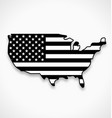 usa america flag in map symbol black and white vector image vector image