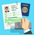 visa concept passport or visa application travel vector image vector image