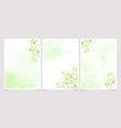 watercolor green leaves on splash background vector image vector image