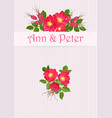 wedding invitation with bouquet of red dog rose in vector image vector image