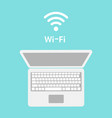 wi-fi icon on laptop screen wireless technology vector image vector image