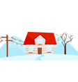 winter view on small house tree and electrical vector image