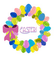 Wreath of Easter eggs vector image vector image