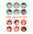 kids boys and girls avatar set vector image
