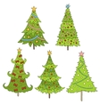 Set of doodle trees Festive vector image