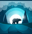 bear cartoon night landscape vector image