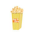 big full yellow-and-white striped popcorn bucket vector image