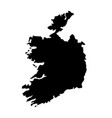 black silhouette country borders map of ireland vector image