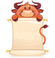 Bull with scroll vector image