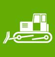 bulldozer icon green vector image vector image