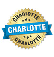 Charlotte round golden badge with blue ribbon vector image vector image