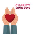 colorful hands charity share love holding in palms vector image vector image