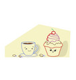 cute muffin cake with coffee cup cartoon comic vector image