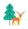 deer animal icon horned reindeer in orange color vector image vector image
