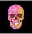 donut skull art graphic black vector image