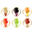 faceted gemstones with gold fastener vector image vector image