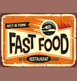 Fast food restaurant vintage tin sign design