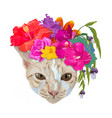 ginger cat head wear chaplet with colorful flower vector image vector image