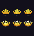 golden crowns for game template 6 steps drawing vector image vector image