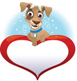 Greeting cards with heart and dog vector image