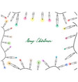 hand drawn of lovely christmas lights frame vector image vector image