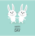happy friendship day two white bunny rabbit vector image