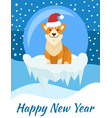 happy new year poster with beige dog in santa hat vector image vector image