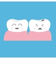 Healthy smiling tooth gum icon Crying bad ill vector image vector image