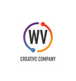 initial letter wv creative circle logo design vector image vector image