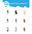isometric person set of policewoman girl vector image vector image
