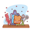 kitchen shelf cartoon kawaii cartoon vector image