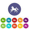 knight horse mascot icons set color vector image